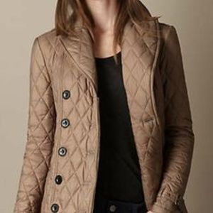 Burberry Taupe Single-Breasted Quilted Coat Jacket